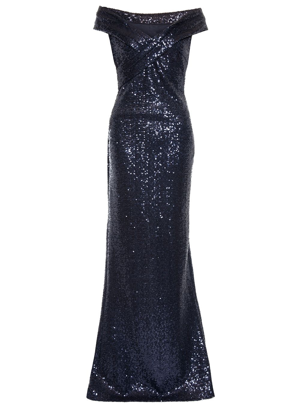 Quiz Navy Sequin Bardot Maxi Dress, Blue