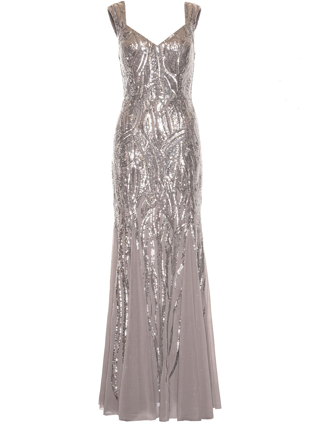 Quiz Silver Sequin Fishtail Maxi Dress, Silver