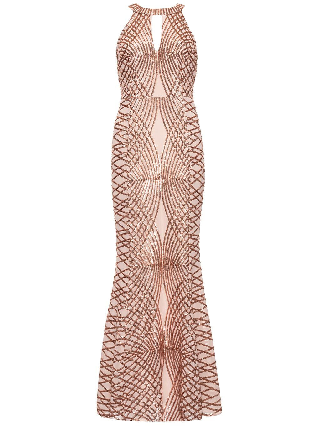 Quiz Rose Gold Sequin Fishtail Maxi Dress, Rose Gold