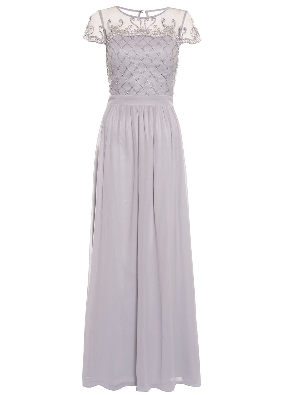 Quiz Grey Chiffon Embellished Maxi Dress, Grey