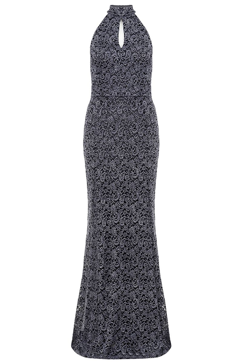Quiz Grey and Silver Glitter Lace High Neck Fishtail M, Silver