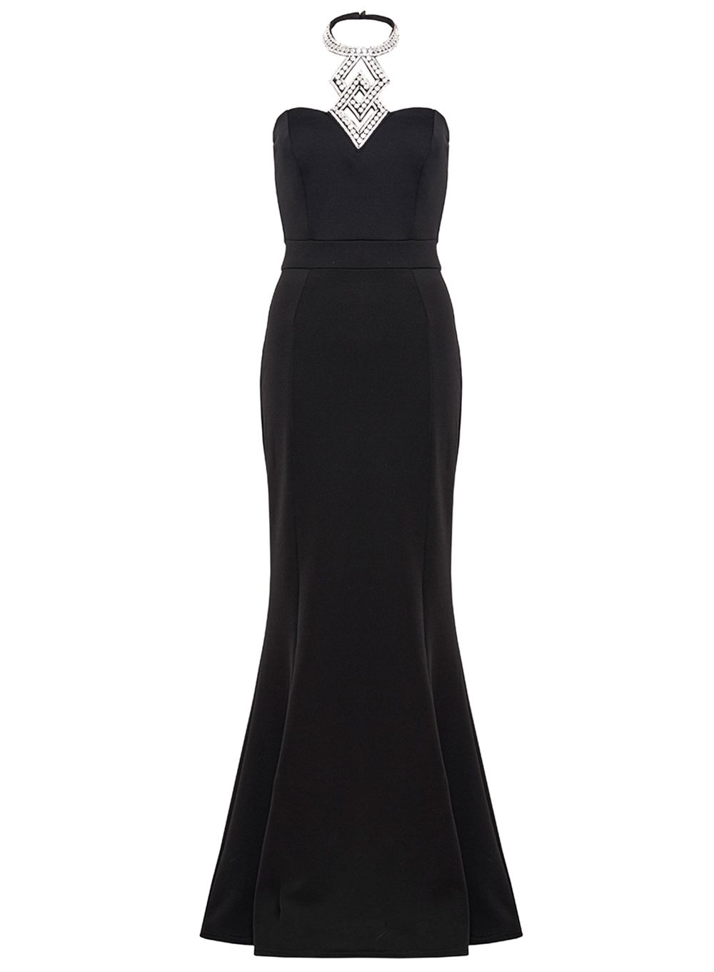 Quiz Black Diamante Fishtail Maxi Dress, Black