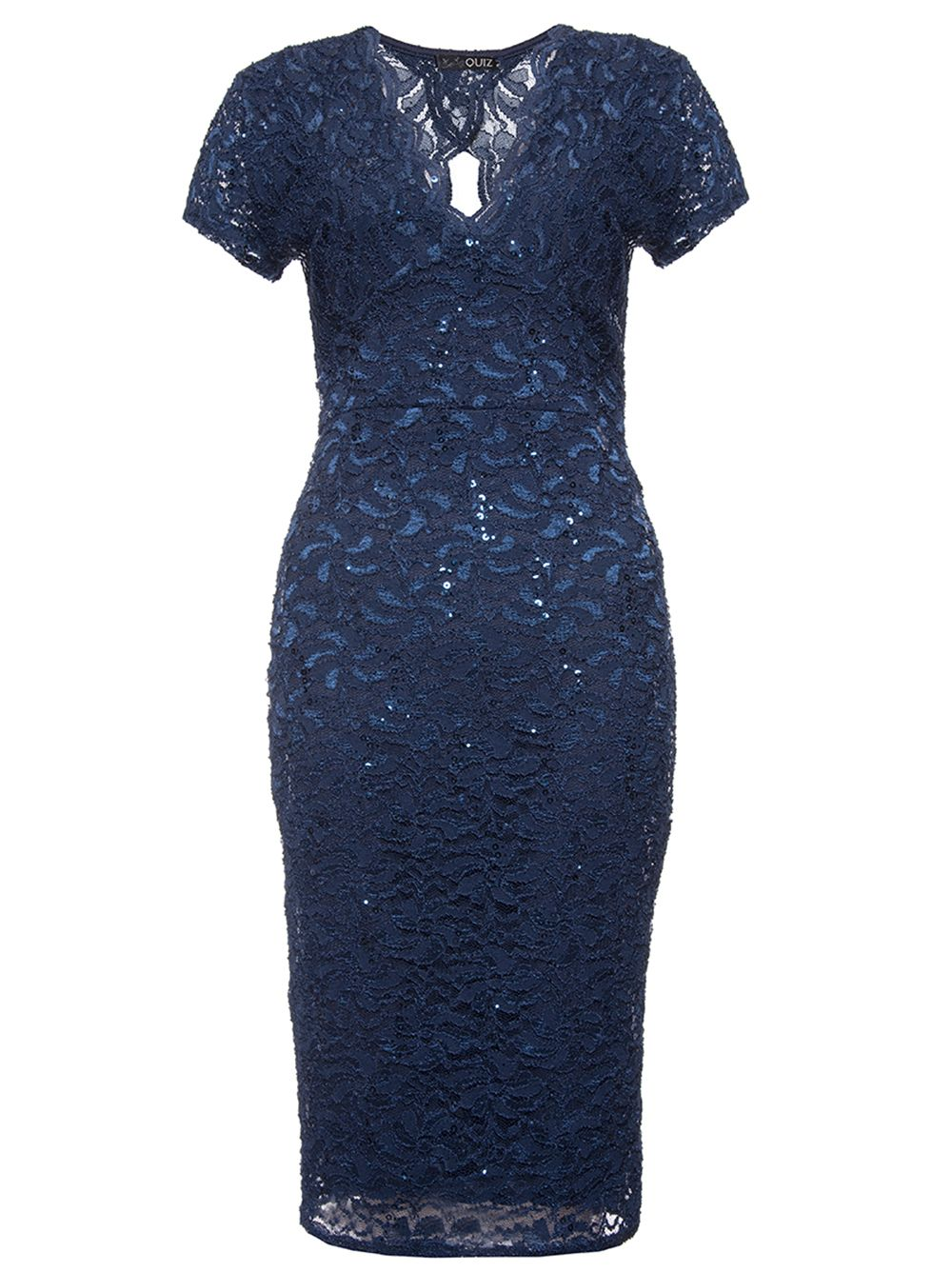 Quiz Navy Sequin Lace Cap Sleeve Midi Dress, Blue