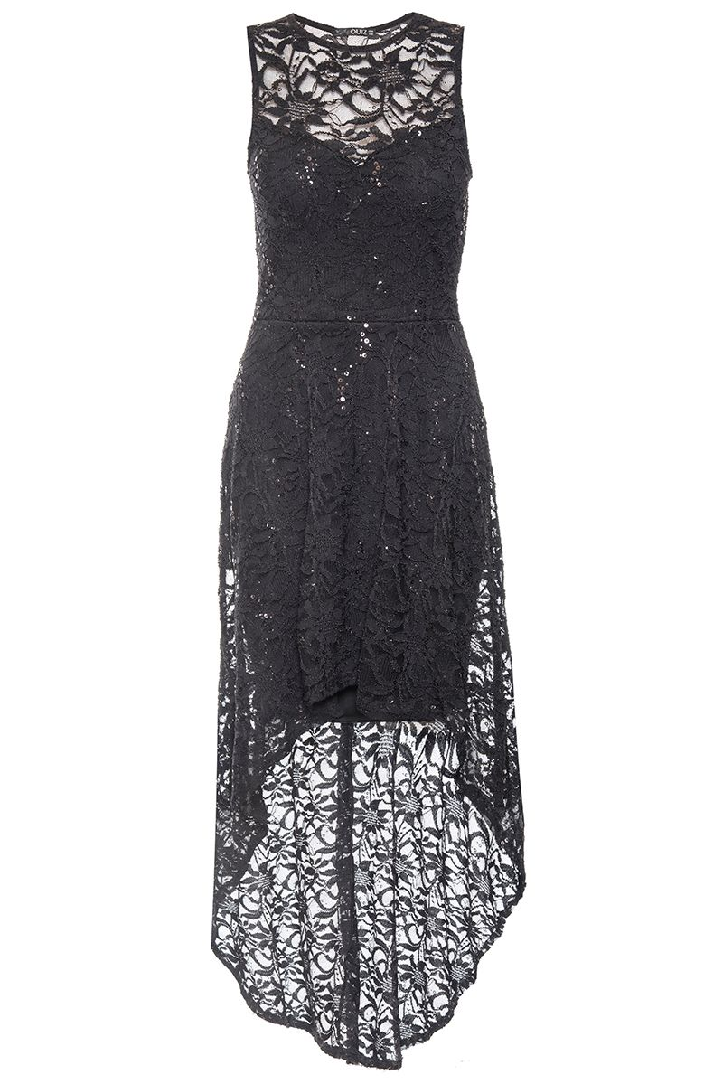 Quiz Black Glitter Lace Sweetheart Dress, Black
