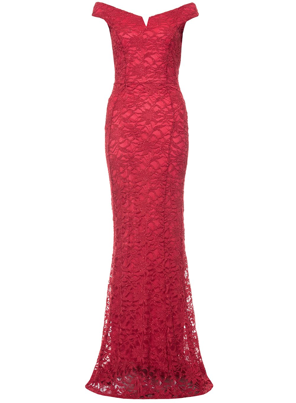 Quiz Berry Lace Sequin Bardot Maxi Dress, Berry