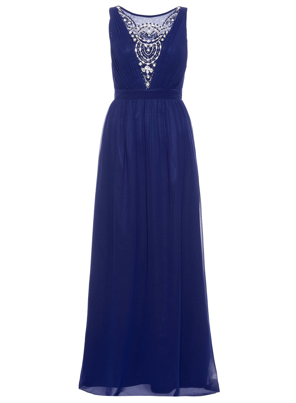 Quiz Navy Diamante Maxi Dress, Blue