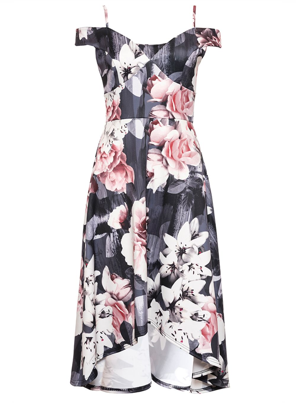 Quiz Grey and Pink Floral Print Dip Hem Dress, Grey