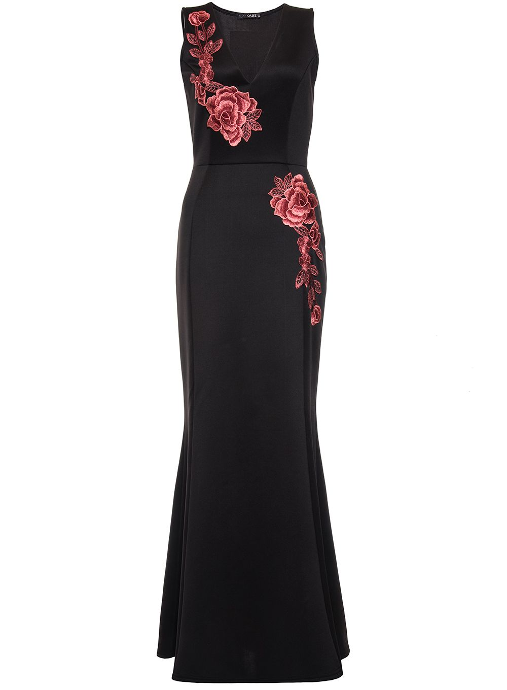 Quiz Black and Red Fishtail Maxi Dress, Black