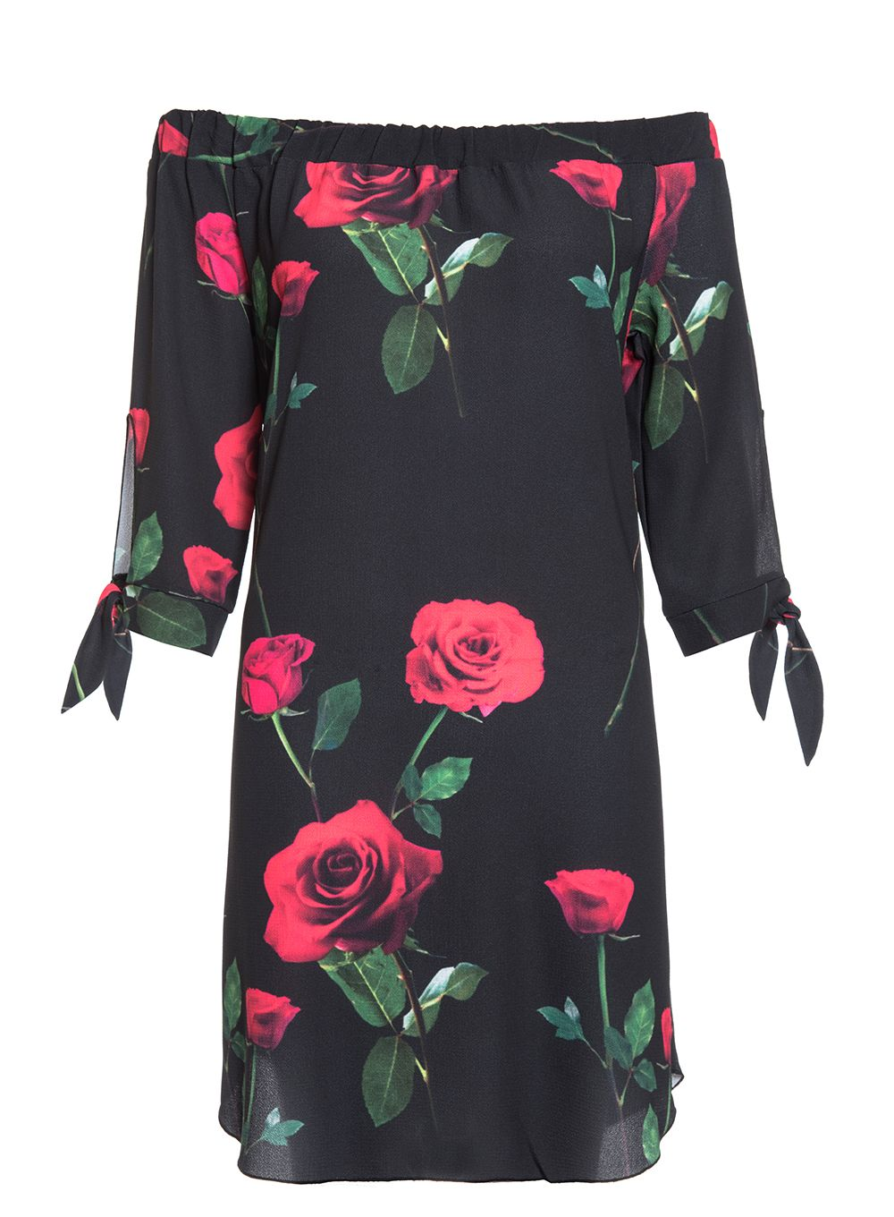 Quiz Black and Red Rose Tunic Dress, Black