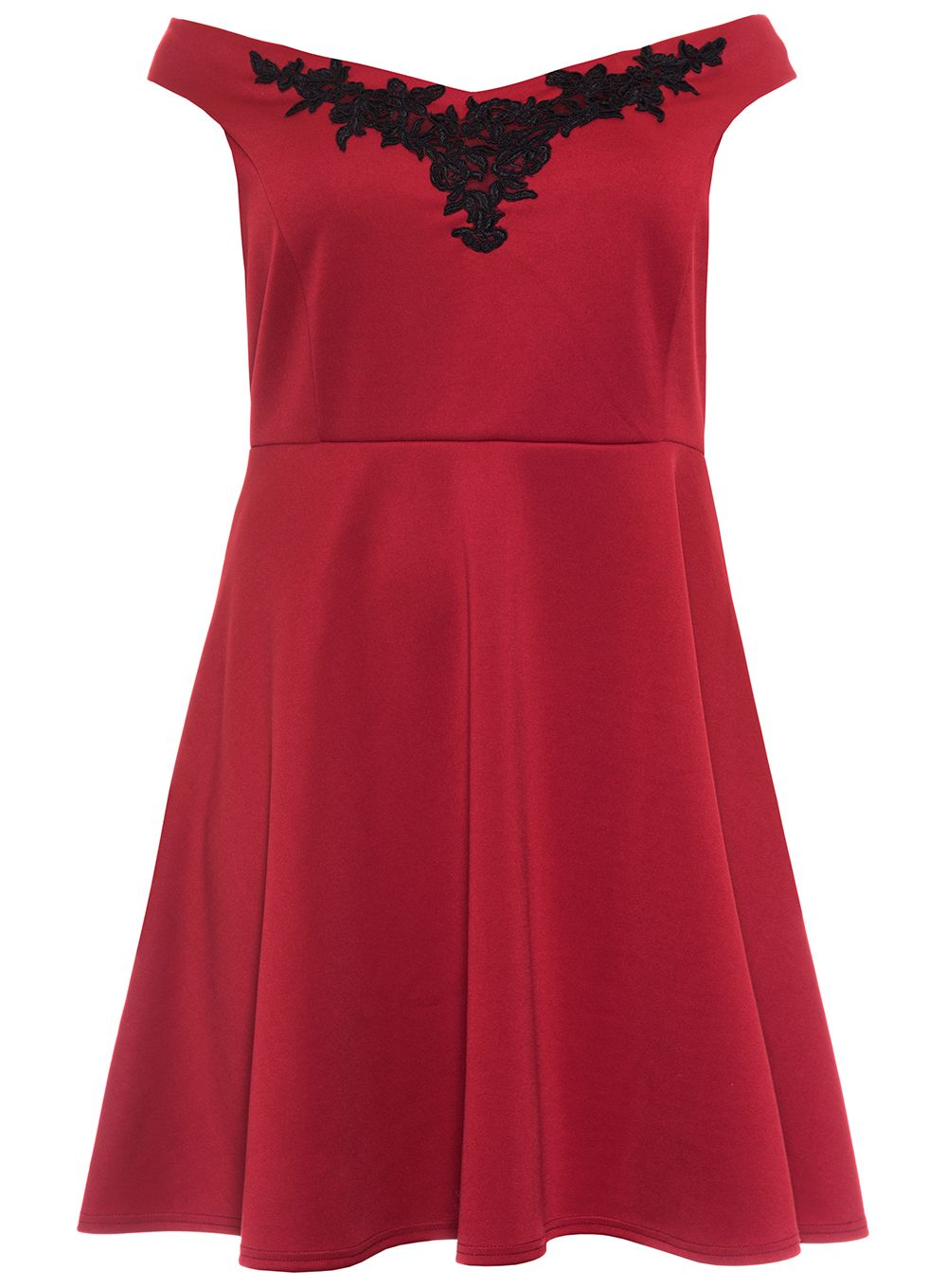 Quiz Curve Berry And Black Skater Dress, Red