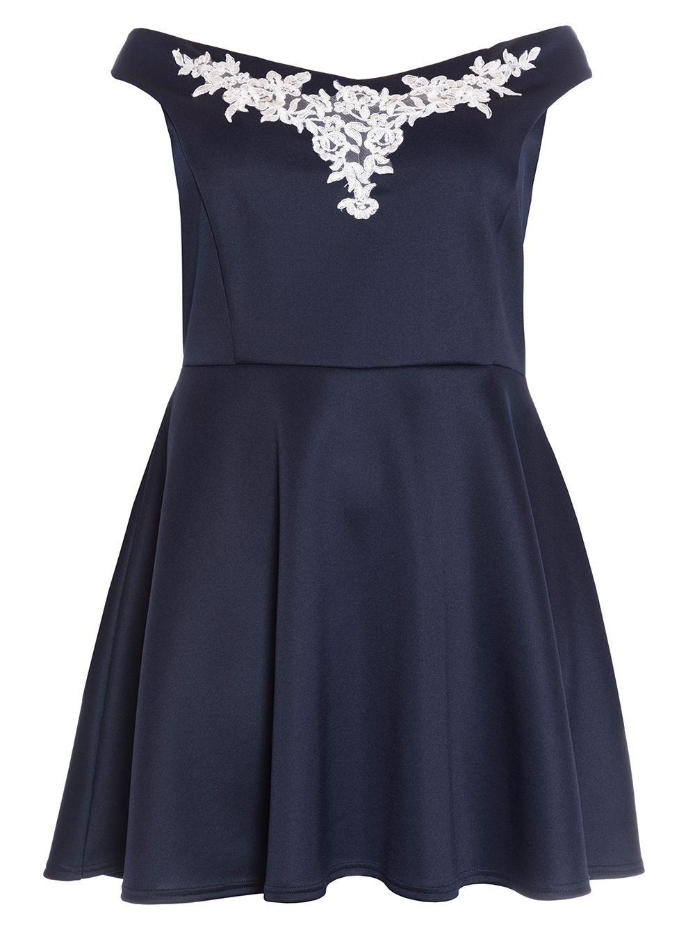 Quiz Curve Navy And Cream Skater Dress, Blue