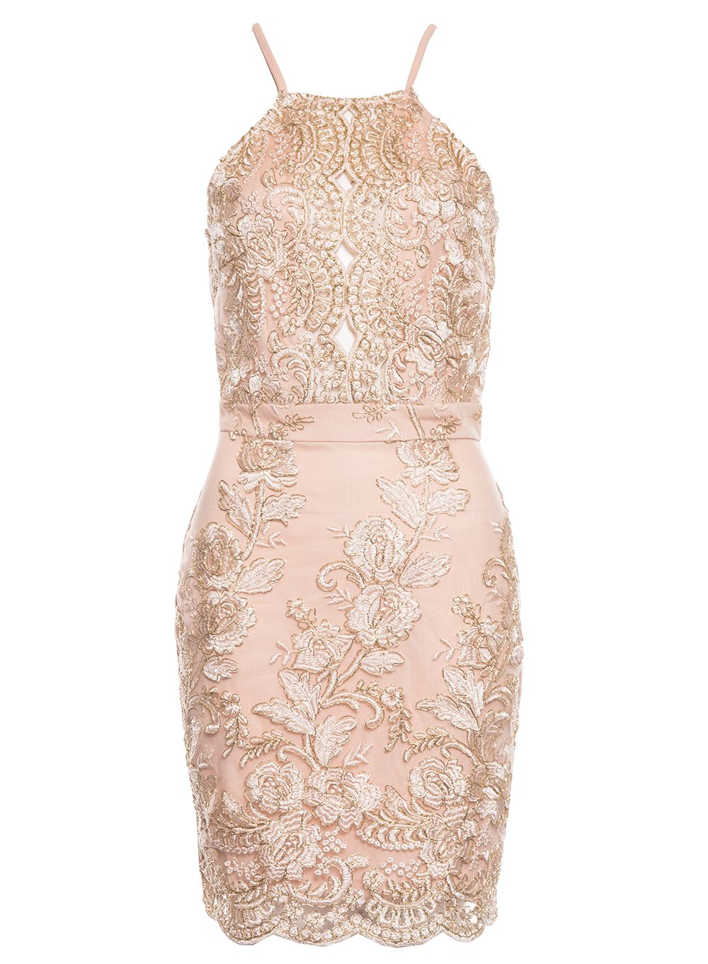 Quiz Nude And Gold Bodycon Dress, Nude