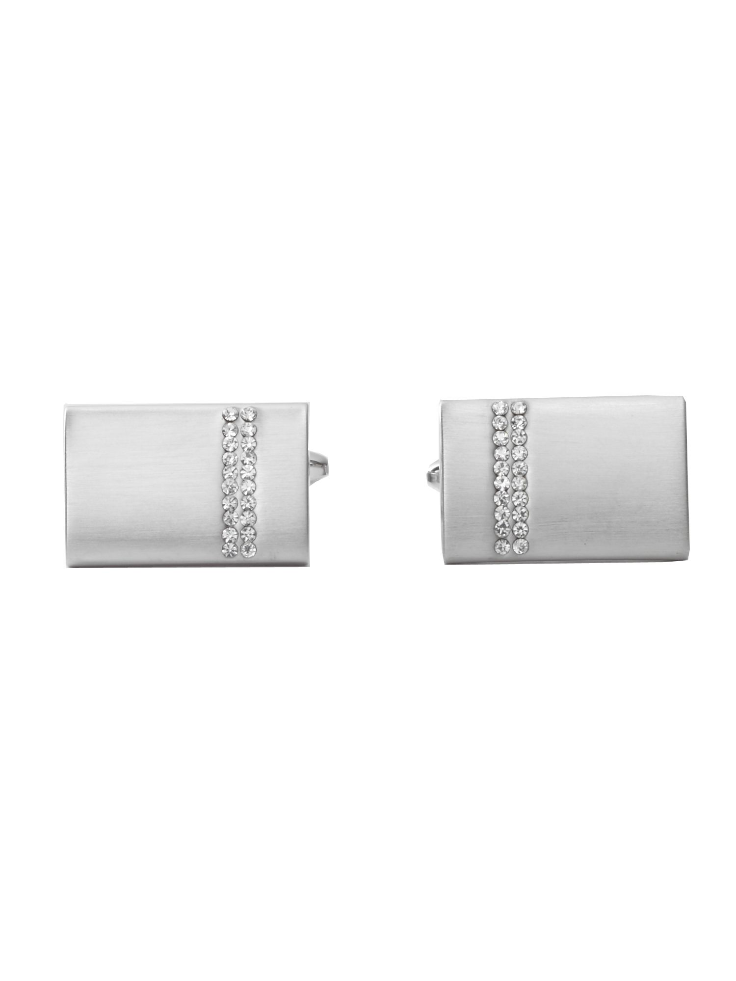 Silver rectangle with crystal cufflink