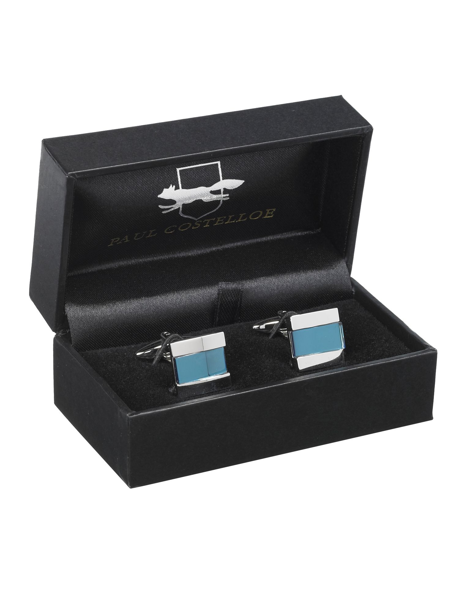 Square with blue coloured stone cufflink