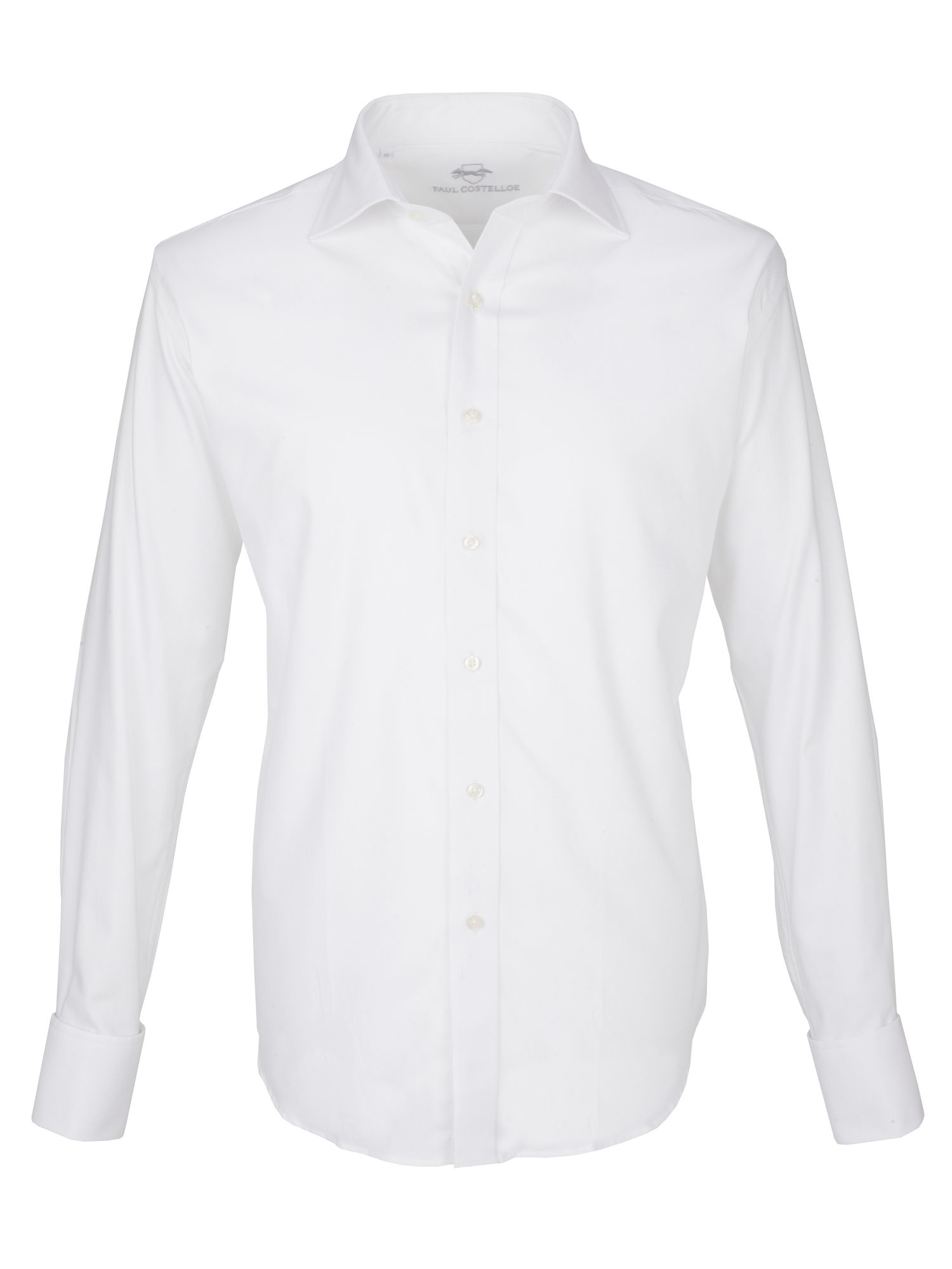 White twill double cuff shirt