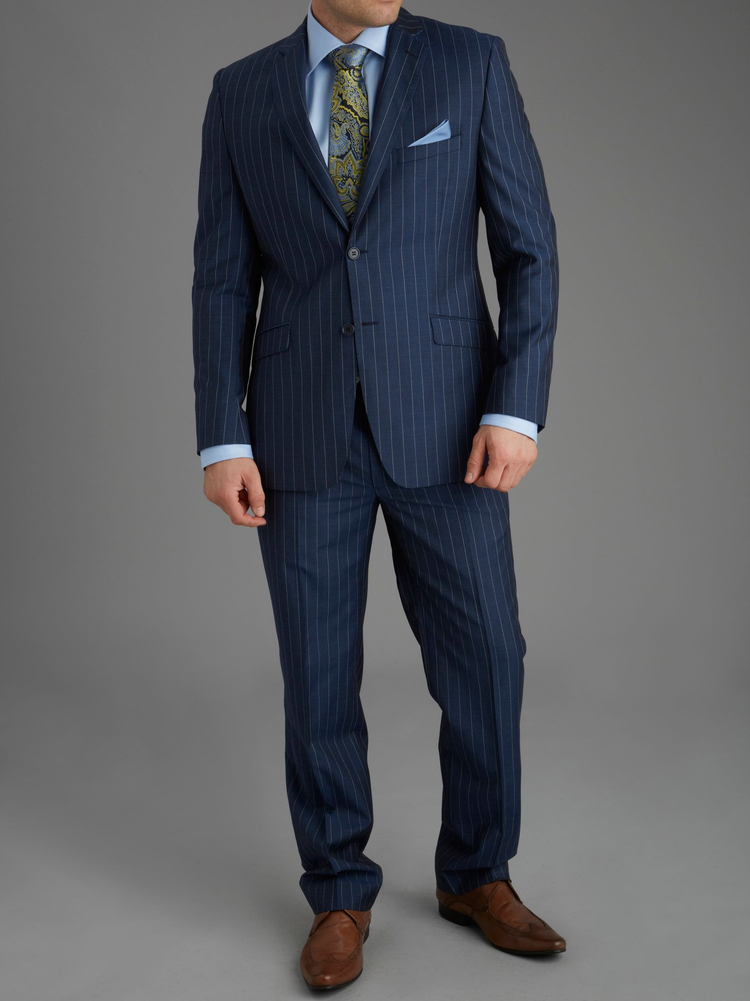 Carlanstown blue wide stripe suit