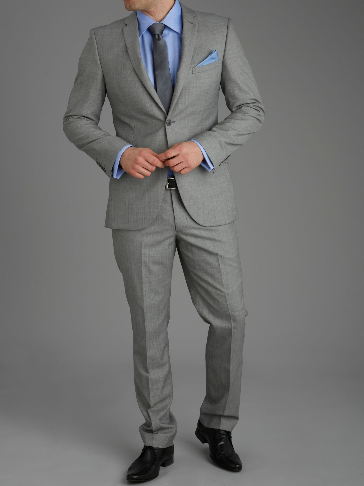 Carndonagh silver semi-plain slim fit suit