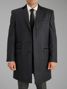 Grey with Velvet Collar Overcoat