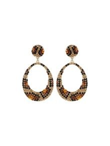 Oval design earrings leopard