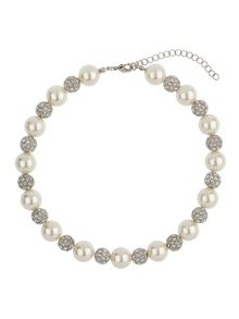 Large pearl crystal necklace