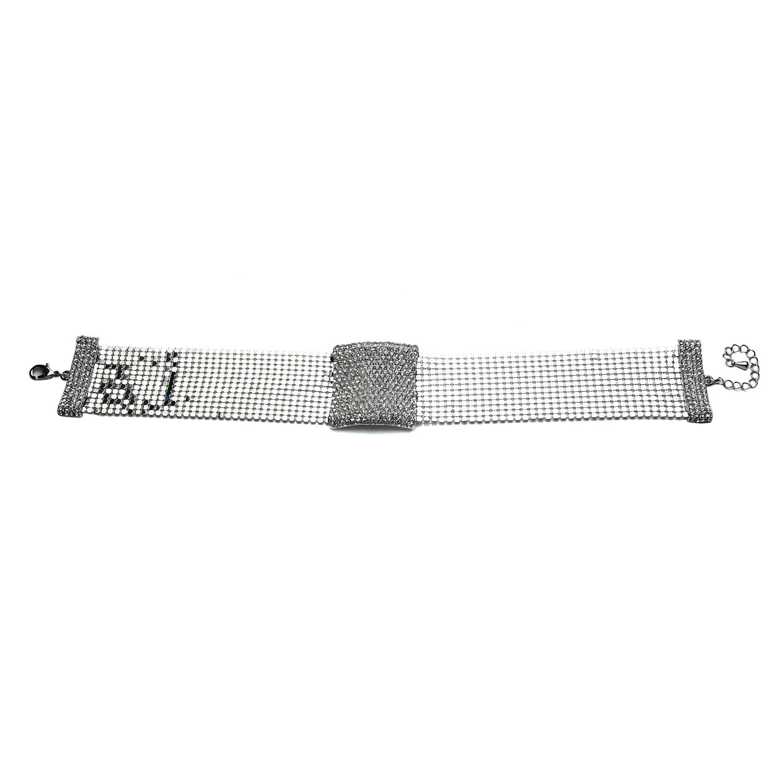 mikey crystal rectangle design choker