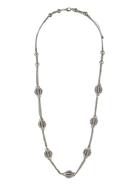 Mikey Long silver crystal ball necklace