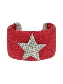 Mikey Star On Leather Cuff