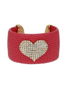 Mikey Heart On Leather Cuff