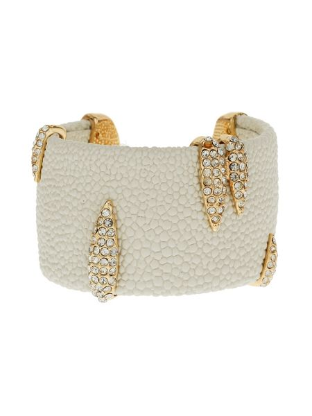 Mikey Crystal clip on leather cuff