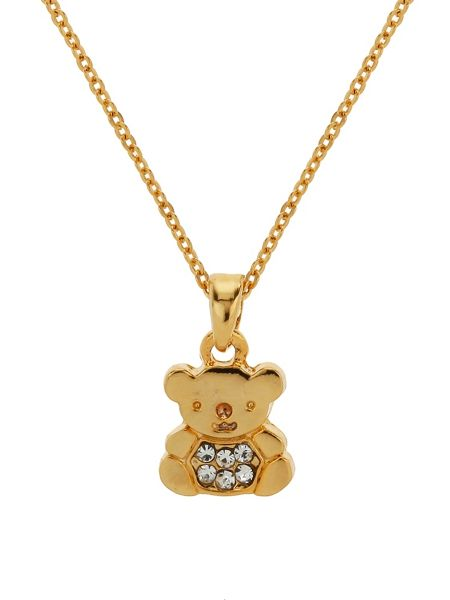 Mikey Small diamante teddy bear necklace