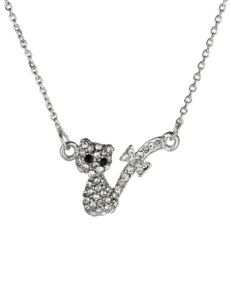 Mikey Small diamante cat necklace