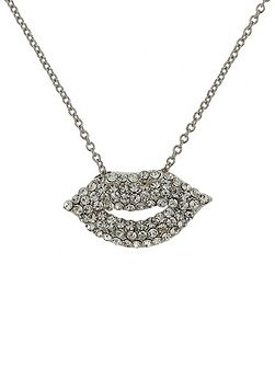 Small diamante lips necklace