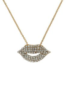 Mikey Small diamante lips necklace