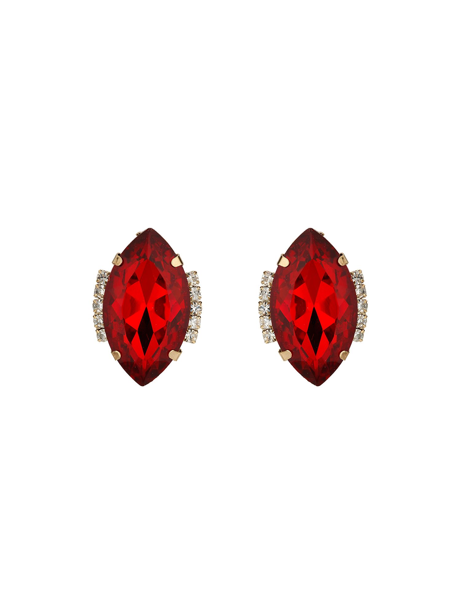 Mikey Large Oval Crystal Earring Red