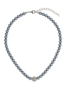 Crystal ball pearl necklace