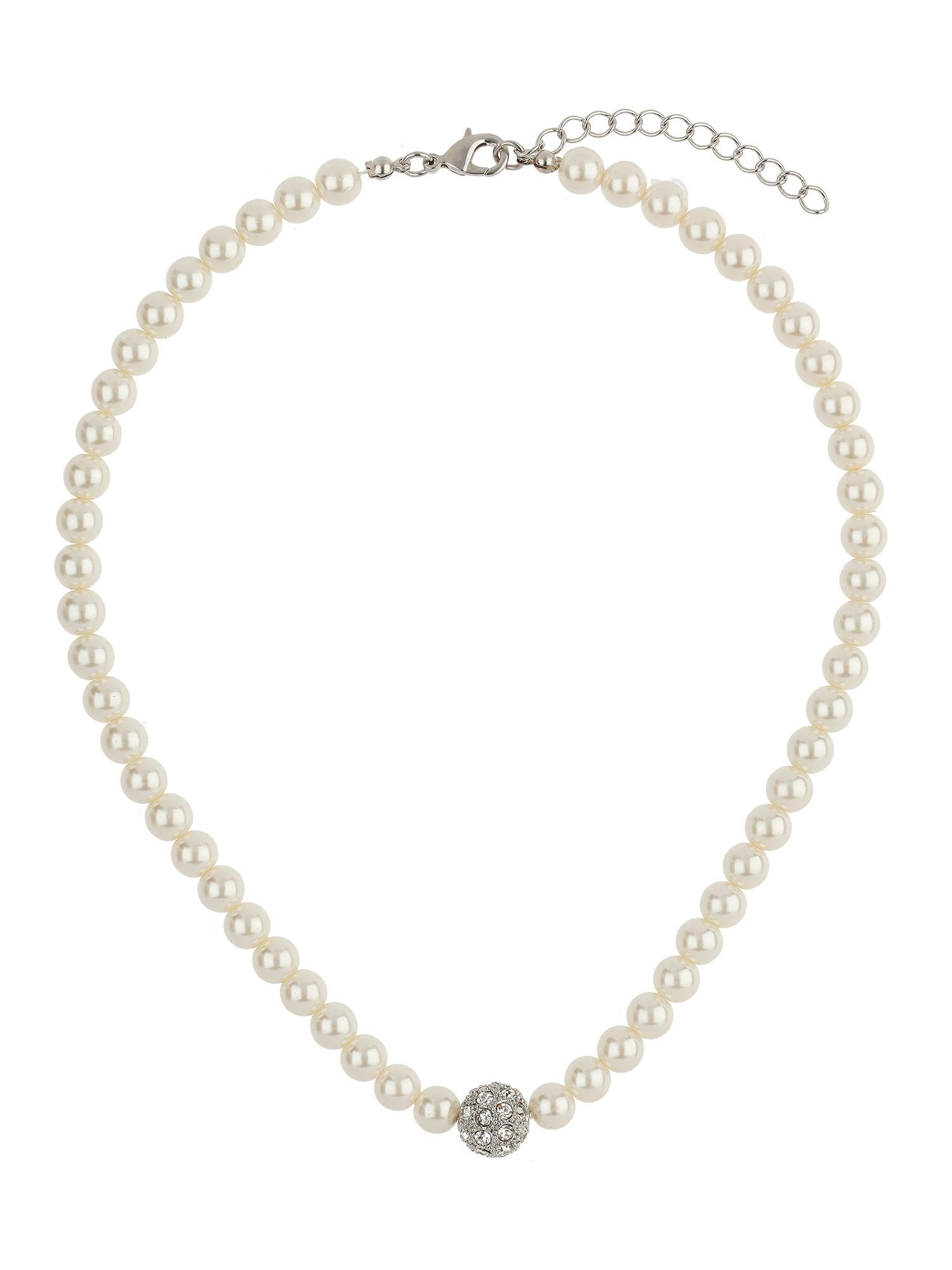 mikey crystal ball pearl necklace