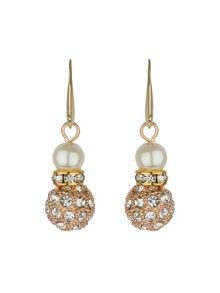 Large crystal ball earrings