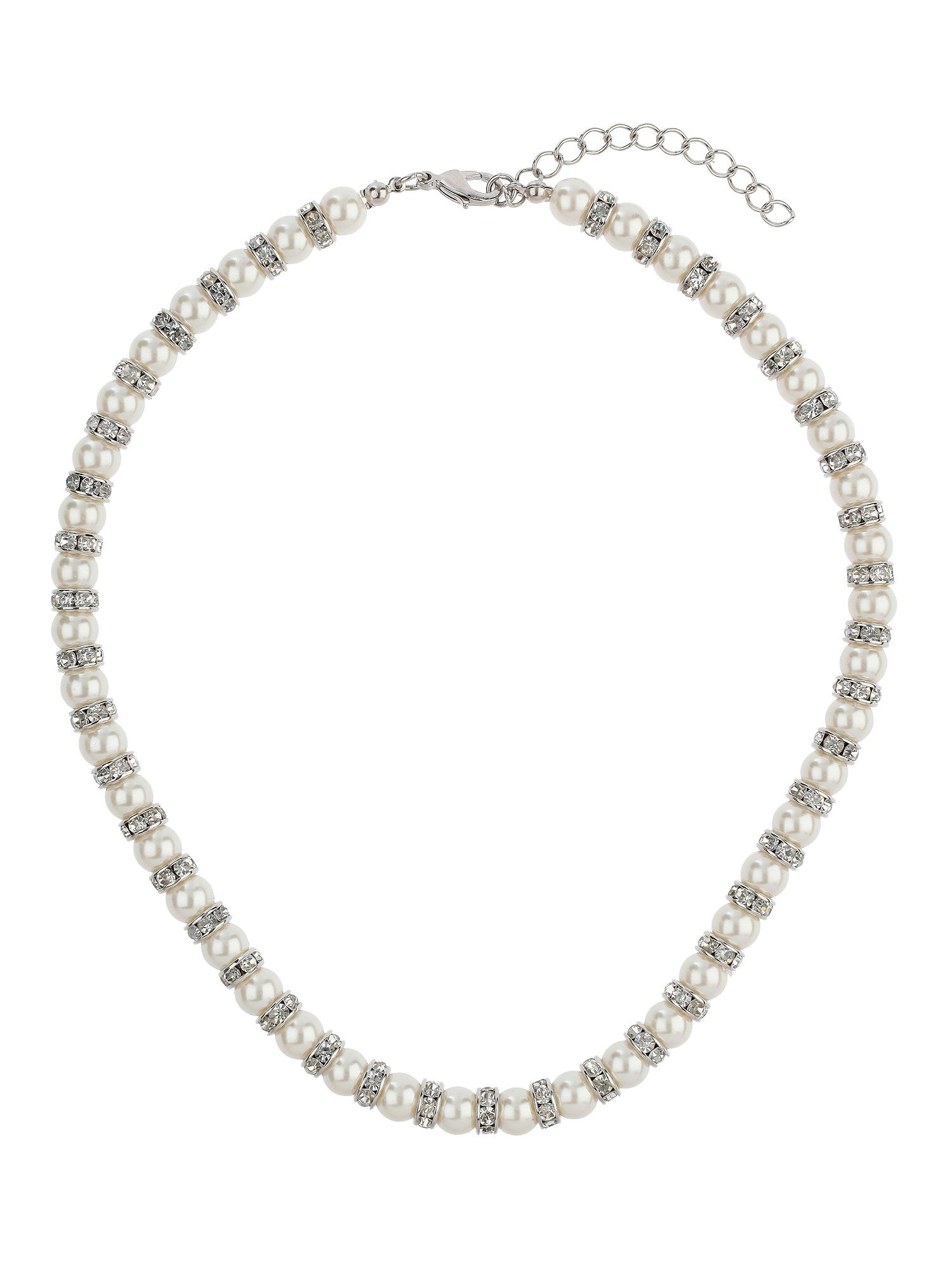 Pearl with crystal ring necklace