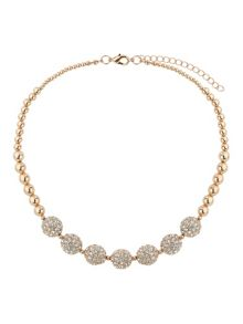 Crystal 15mm ball & metal beads necklace