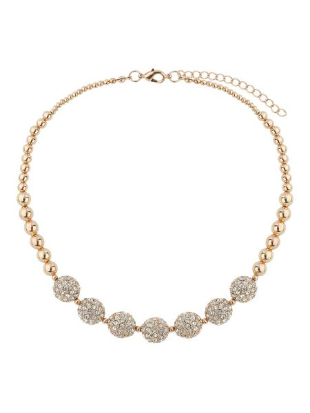 Mikey Crystal 15mm ball & metal beads necklace