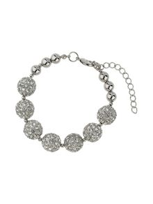 Mikey Crystal 15mm ball & metal beads barcelet