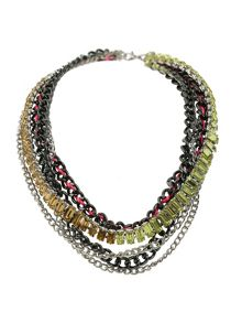 Mikey Multi Chains & Crystal Necklace