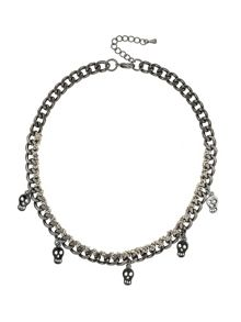 Mikey Multi Skull Necklace Ribbon & Metal