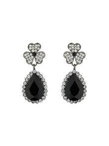 Flower large stone drop earring