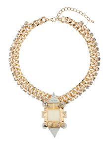 Mikey Large spike, square crystal metal chain
