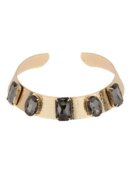 Mikey Wide metal choker with rectangle stones