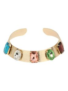 Wide metal choker with rectangle stones