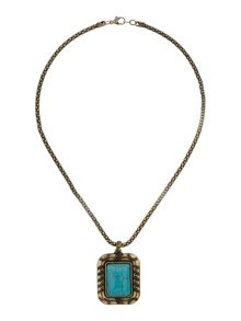 Square stone turquoise necklace
