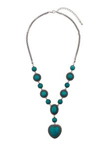 Heart & surround turquoise stone necklac
