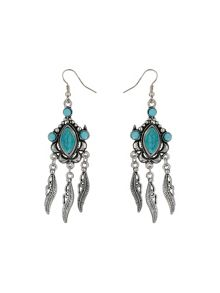 Leaf beads oval stone earring